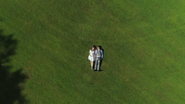 AERIAL TOP DOWN: Couple expecting a child laying down side by side holding hands video