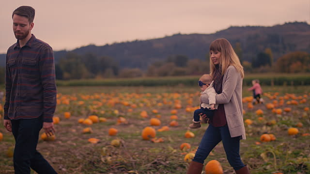 A couple finding a pumpkin at a pumpkin patch and showing it to their baby girl