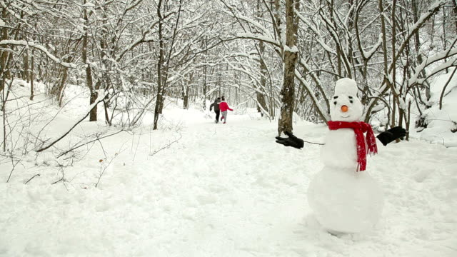 Couple Having Fun In Snow Forest video