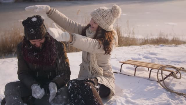 Couple Having Fun in Winter Outdoors