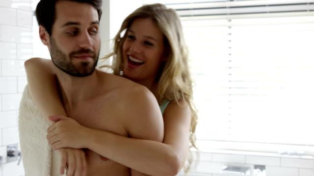 Couple Having Hug In A Bathroom Video