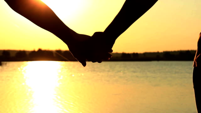 Couple Holding Hand At River Sunset, silhouettes video