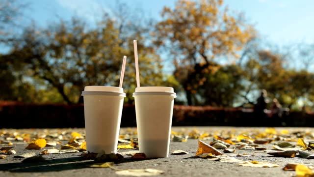 coppia in autunno parco della città - due oggetti video stock e b–roll