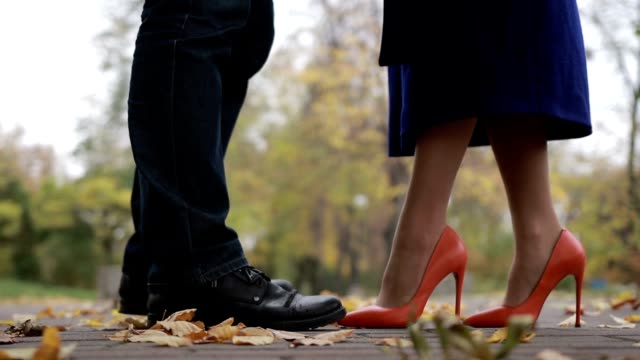 Couple in love on romantic date in autumn park video