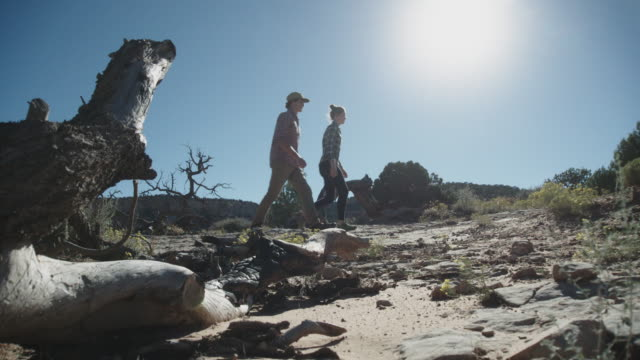 Couple in Their Twenties Hikes in the Desert video
