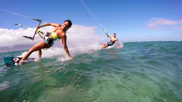 Couple Kite Surfing In Ocean, Extreme Summer Sport
