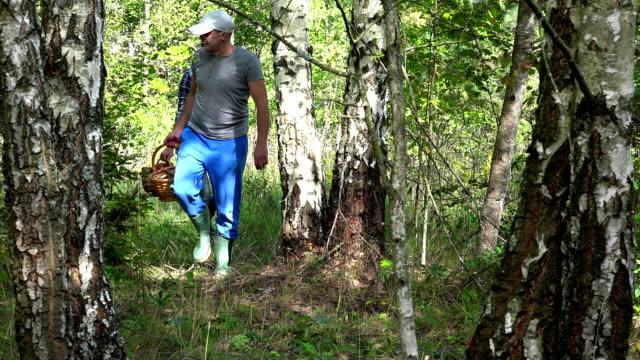 par man och kvinna promenader med korgar fulla av svamp i skogen - höst plocka svamp bildbanksvideor och videomaterial från bakom kulisserna