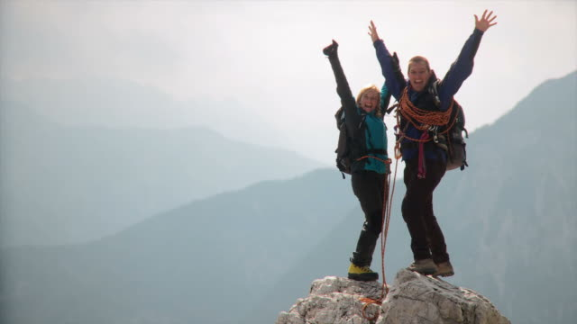 HD: Couple On A Mountain Peak video