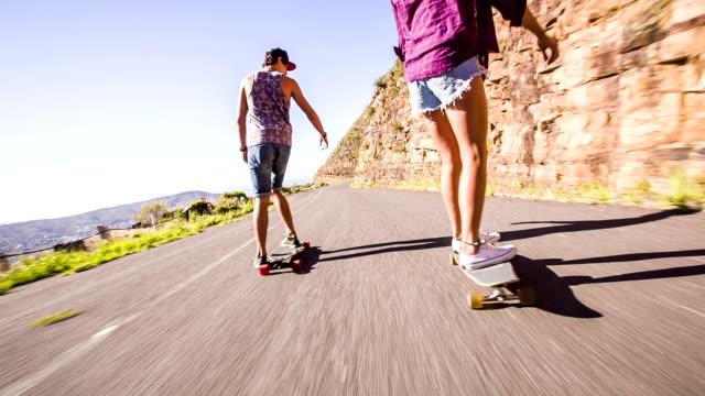 Couple on skateboard video