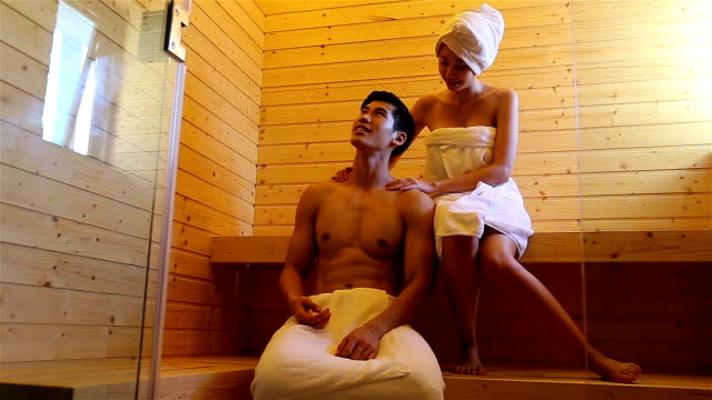 Couple relaxing in sauna together