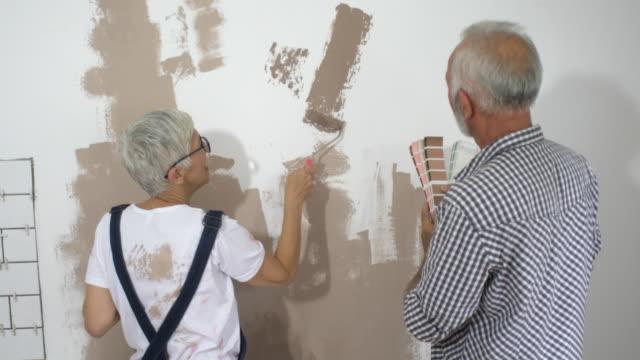 vídeos de stock e filmes b-roll de couple remodeling their home - 55 59 anos