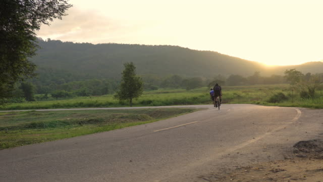couple riding bike outdoors in park at sunset, fitness, sport and exercise, healthy life and lifestyle concept. video
