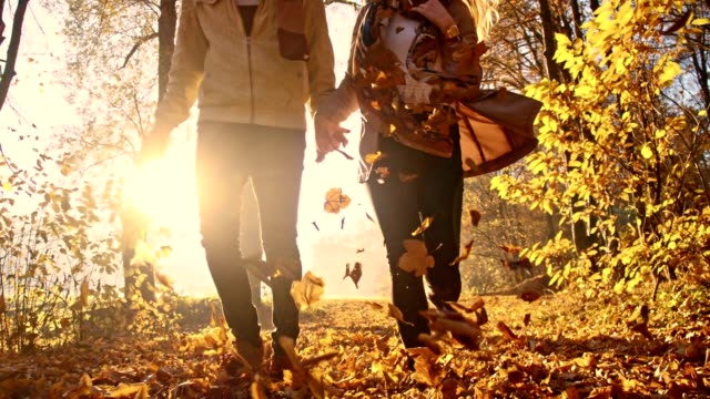 SLO MO Couple running in autumn forest video