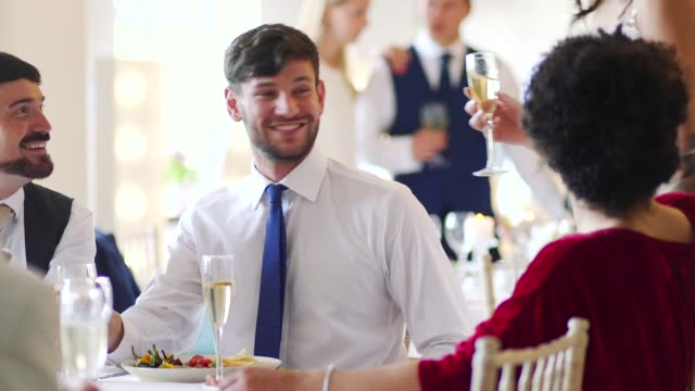 couple socialising at their wedding - young couple wedding friends video stock e b–roll
