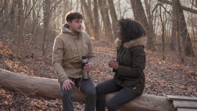 par spendera tid utomhus i vinter skog - pojkvän bildbanksvideor och videomaterial från bakom kulisserna