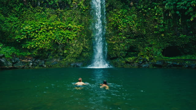 couple swimming to waterfall - водопад стоковые видео и кадры b-roll