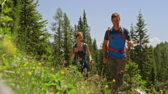 Couple talking and smiling while hiking up a sunny mountain meadow Wide low angle handheld shot of a man and a woman hiking up a sunny mountain meadow, smiling and talking as they walk with their trekking poles. Shot in Slovenia. tank top stock videos & royalty-free footage