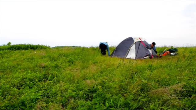 Couple Tent Camping On Mountain Top video