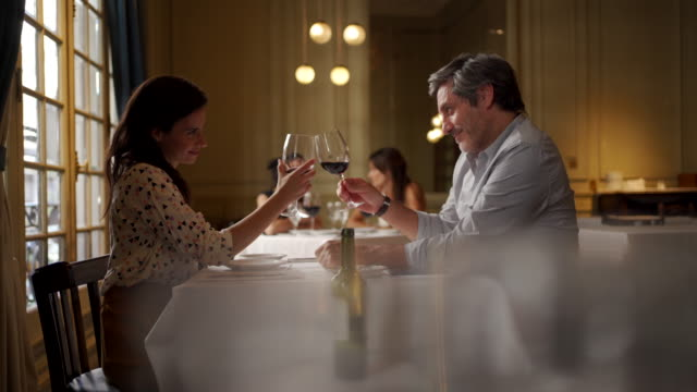Couple toasting to their love Couple in restaurant human relationship stock videos & royalty-free footage