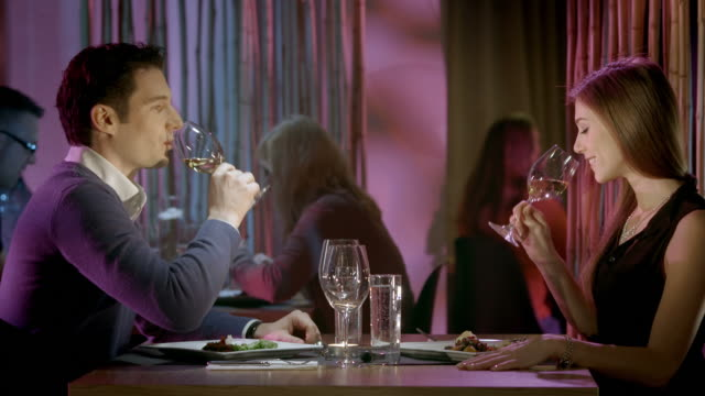 HD: Couple Toasting With Wine In The Restaurant video