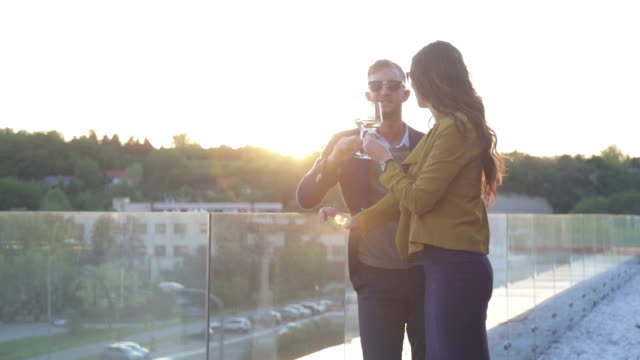 Couple toasting with wine video