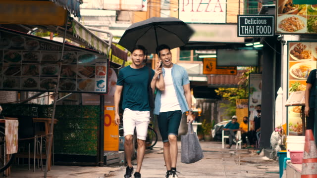 LGBTQI Couple travelling in Khao san road, Bangkok Thailand