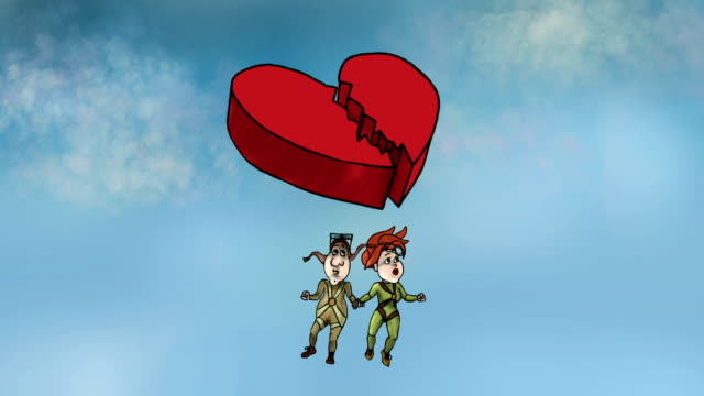 Couple under the broken heart. Classic animation.ation video