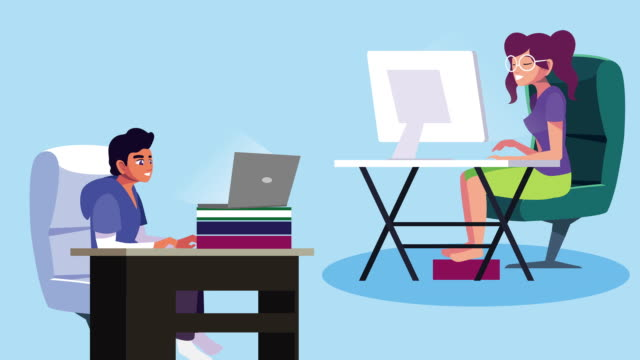 couple using laptop and desktop work at home campaign animation