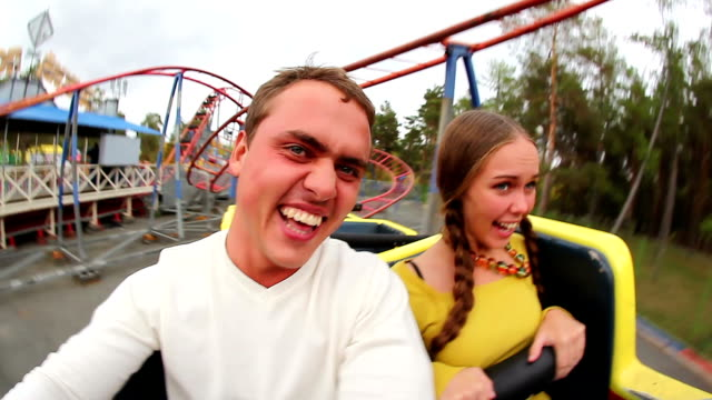 couple - roller coaster stock videos & royalty-free footage