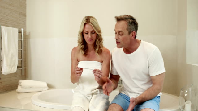 Couple waiting pregnancy test result video