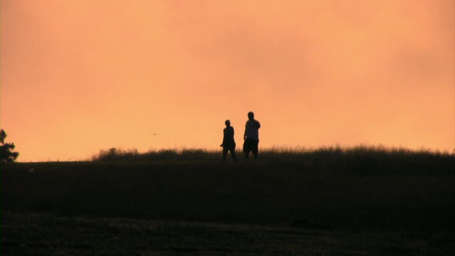Couple Walk May (HD) A silhouetted couple walks across frame. (1080i source) 笹 stock videos & royalty-free footage