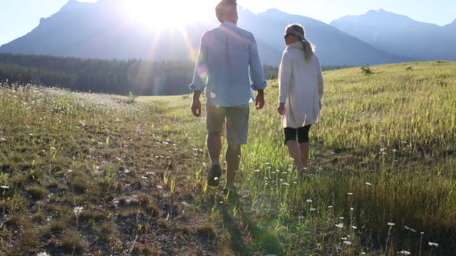 Couple walk through mountain meadow, talking