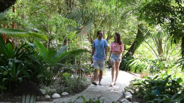 Couple walking along footpath through rainforest garden Brazilian couple walk through gardens of hotel on vacation together in Trancoso formal garden stock videos & royalty-free footage