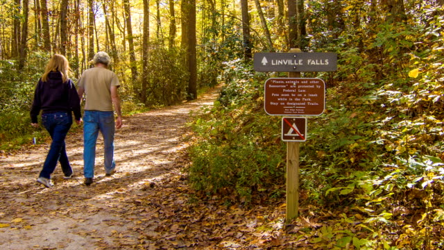 Couple Walking on Linville Falls, NC Hiking Path in Fall video
