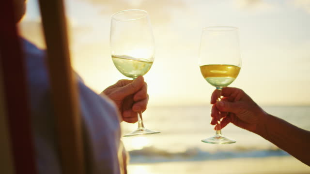 couple watching sunset enjoying a glass of wine - località turistica video stock e b–roll
