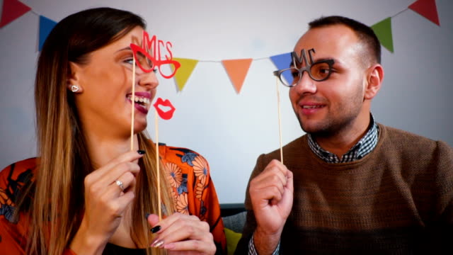 Couple with cute Valentine's accesories video