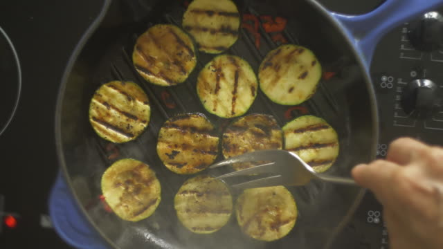Courgettes zucchini frying
