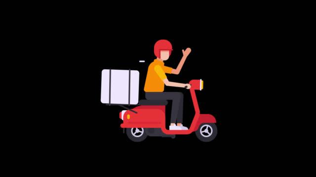 kurier auf roller mit box auf kofferraum. fahrten entlang des bildschirms. transparenter hintergrund - drive illustration stock-videos und b-roll-filmmaterial