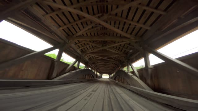 Covered Bridge Driving Vermont. Unusual Angle