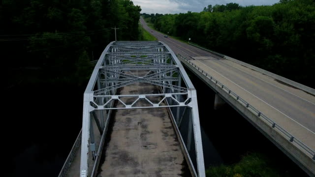 Covered bridge old style aerial view video