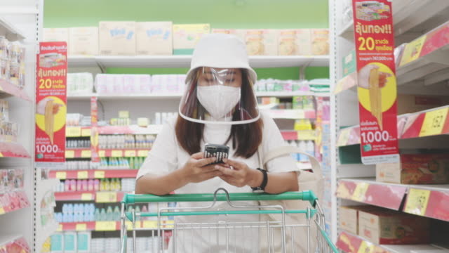 Covid-19 Effect : Asian woman in a protection mask walks with a grocery cart in a supermarket