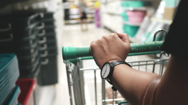 Covid-19 Effect : Panic buying Supermarket shopping cart stock videos & royalty-free footage