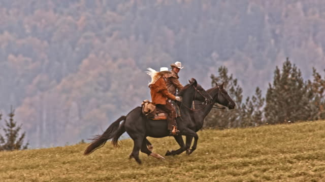 SLO MO TS Cowboy and cowgirl riding their galloping horses Slow motion wide tracking shot of a cowboy and a cowgirl riding their galloping horses up the mountain. cowgirl stock videos & royalty-free footage