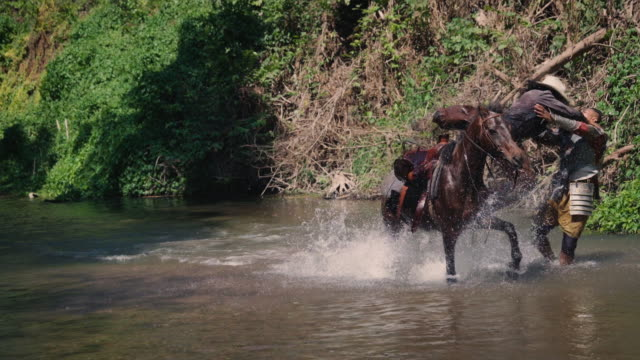 cowboy and man fighting in the river - cowboy video stock e b–roll
