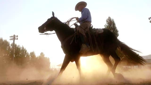 Cowboy Riding Horse at Sunset