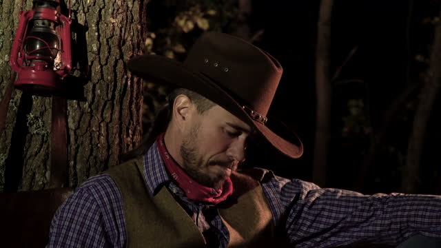 Cowboy with a gun in the forest at night