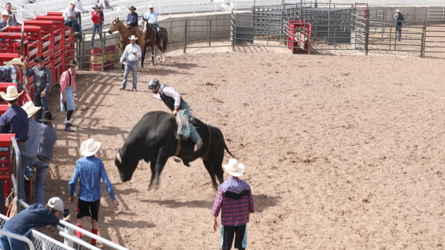 Cowboys Competing in the Bull Riding Event at a Rodeo
