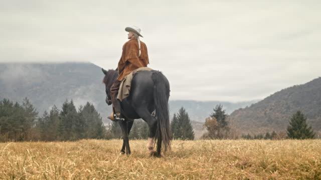 Cowgirl DS son cheval dans la prairie de montagne - Vidéo