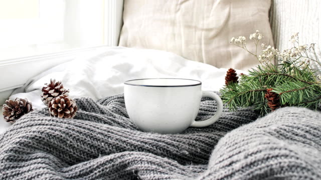 Cozy Christmas morning breakfast in bed scene. Steaming cup of hot coffee, tea standing near window. Pine cones and Christmas tree branch on wool plaid. Linen cushions background. Loopable.