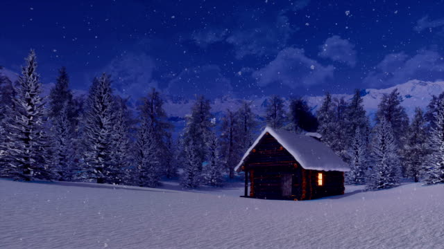 cozy log cabin high in mountains at snowy winter night - capanna video stock e b–roll